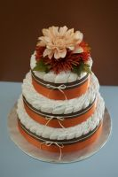 Orange and Brown Diaper Cake by annimemanga