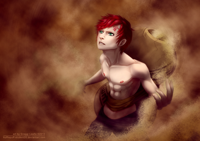 Shirtless Ninja : Gaara of the Sand by greggileano