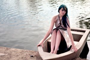Girl in Concrete Boat by fieldsofjoy