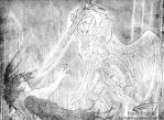 Michael Casting Lucifer from Heaven by SkyHighDreamingKate