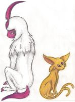 Custom color Absol and Espeon by COPYRITE