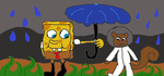 spongebob and sandy rainy day by BlueMoonScorpio