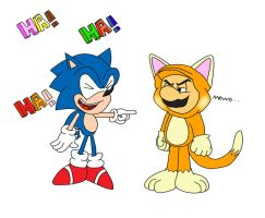 Sonic The Hedgehog and Mario The CAT!!! by ClassicSonicSatAm