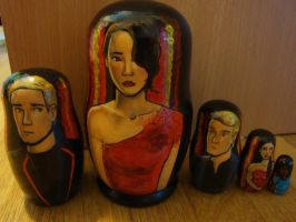 Hunger Games Tributes Nesting Dolls by bachel60