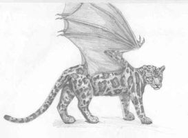 clouded leopard with wings by creativegoth18