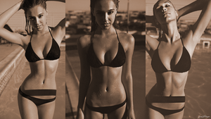 Alexis Ren 1080p Poolside Bikini Wallpaper by Bears85yemi
