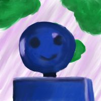 Blue robot, green clouds... by KArtWorks