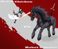Robot Chicken vs Robot Unicorn by QuadrilinearFilter