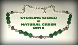 Sterling silver and natural green onyx necklace by marsvar