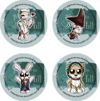 Silent Hill Chibi Badges by RedPawDesigns