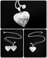 Engraved Floral Silver Heart Locket Necklace by crystaland