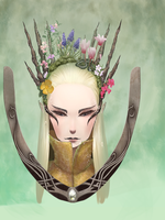 Flower Crown Thrandy in progress ( update) by ChibiWing