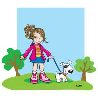 Girl and Dog by aurangelica