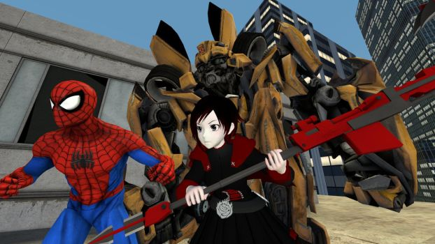 Spider-Man , Ruby Rose and Bumblebee Leaders by kongzillarex619