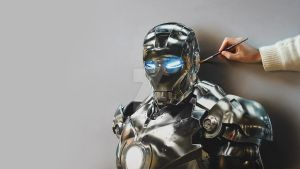 Iron Man Portrait - Painting on canvas by marcellobarenghi