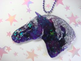 Purple Galaxy Horse Necklace by Ethereal-Beings