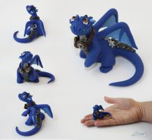 Blue Steampunk Dragon by LitefootsLilBestiary