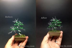 Large green wire deadwood bonsai tree by Ken To by KenToArt