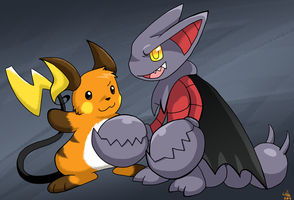 Conspiring Raichu and Gliscor by raizy
