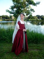 Red Silk Kirtle 1 by CenturiesSewing