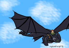 Toothless and Hiccup- Colored by AngelAndChangeling