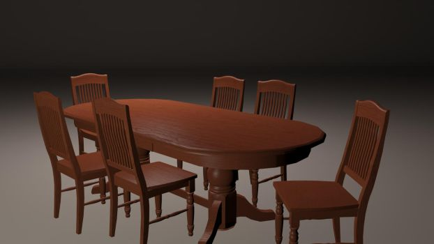 Table and Chairs 3D Model by Eznaex