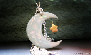 Faux Opal Crescent Moon and Star Pendant by ShinyCation