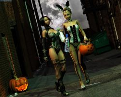 Halloween with Lizzy and Morane by Komblkaurn