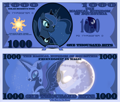Princess Luna 1000 bits bill by cradet
