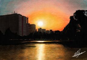 Sunset of the biggest city of the world by neoyurin