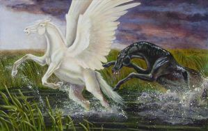 Pegasus and Kelpie by Skye-Fyre