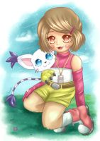 Kari and Gatomon ~ by moonshadebutterfly