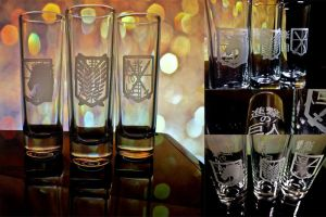 Attack on Titan shot Glasses by mokomar
