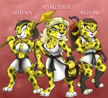Athena Aphrodite and Artemis by shinragod