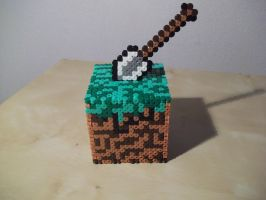 Minecraft cube made of fuse beads by capricornc5