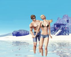 Sonya and Cage at the beach by deexie