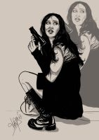 Girl with gun by Heteferes