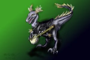Velociraptor Playing the Banjo by CATtheMinion