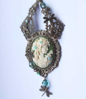Victorian Green cameo choker by Pinkabsinthe