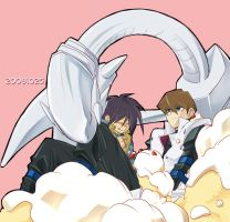 Kaiba bros and BEWD on cake by masops