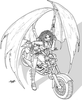 Succubus in a motorcycle by Shabazik