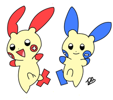 Plusle and Minun - COLORED by Snowshi