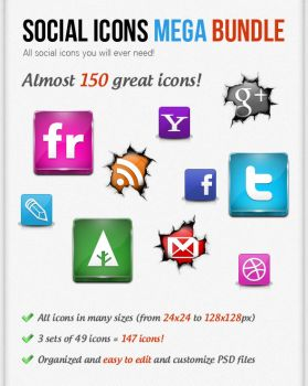 Social Icons Mega Bundle by watracz