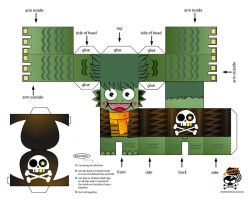 Pirate Seamonster Paper Toy by genkimon