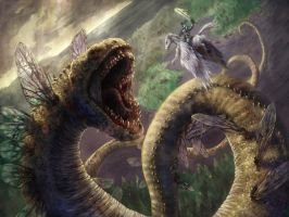 WormFlyDragon Fight by mighty5cent