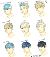 Zelo Hairstyles pt 1 by fox-bro