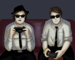 Jake and Elwood Play XBOX by caboosemcgrief