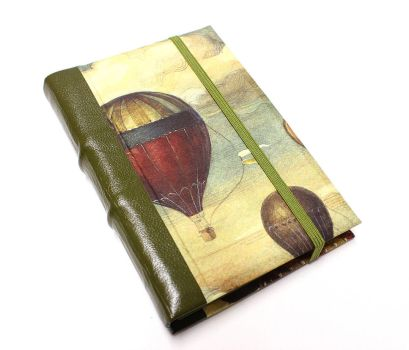 Green Leather Journal - Balloons by GatzBcn