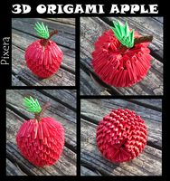 3D Origami Apple by bassetluver