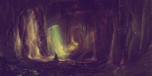 In the cave environment painting (unfinished) by mineyou